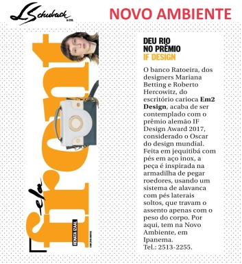 INSTA NOVO AMBIENTE no FRONT, do caderno ELA do Jornal O Globo, em 04 de fevereiro de 2017_2