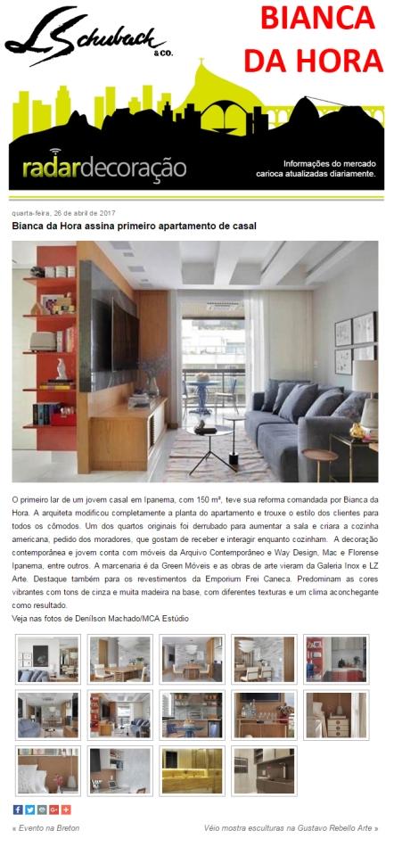 BIANCA DA HORA no site RADAR DECORAÇÃO em 26 de abril de 2017