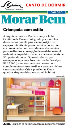 CANTINHO DE DORMIR no caderno Morar Bem do jornal O Globo em 26 de março de 2017