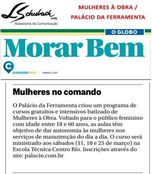MULHERES À OBRA no Caderno Morar Bem do jornal O Globo em 5 de março de 2017