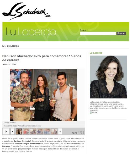 NOVO AMBIENTE e DENILSON MACHADO no site LU LACERDA em 12 de abril de 2017