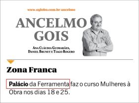 PALÁCIO DA FERRAMENTA na coluna do Ancelmo Gois do jornal O Globo em 15 de março de 2017 - 2