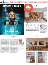 Projeto das arquitetas ROBERTA MOURA, PAULA FARIA e LUCIANA MAMBRINI na Revista O Globo em 23 de abril de 2017