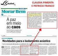 CLAUDIA PIMENTA E PATRICIA FRANCO no caderno MORAR BEM, do jornal O GLOBO, em 28 de maio de 2017