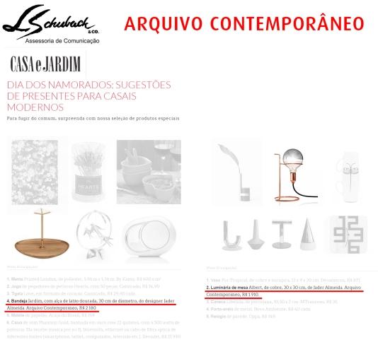 ARQUIVO CONTEMPORÂNEO no site da revista Casa e Jardim em 2 de junho de 2017