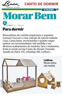 CANTO DE DORMIR no Caderno Morar Bem do jornal O Globo em 10 de julho de 2017