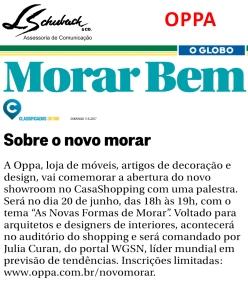 Novo showroom da OPPA no Caderno Morar Bem do jornal O Globo em 11 de junho de 2017