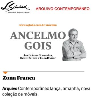 ARQUIVO CONTEMPORÂNEO na coluna do Ancelmo Gois no dia 21 de agosto de 2017