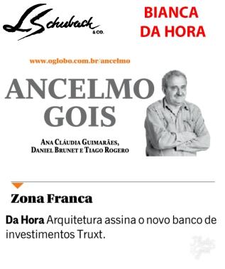 BIANCA DA HORA na coluna ANCELMO GOIS, do jornal O GLOBO, em 31 de agosto de 2017