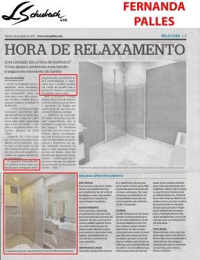 FERNANDA PALLES no caderno BELA CASA, do jornal EXTRA, em 26 de agosto de 2017