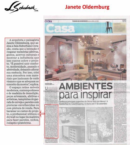 JANETE OLDEMBURG no caderno Casa do Jornal O Dia de 13 de agosto de 2017