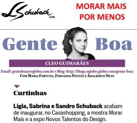 MORAR MAIS POR MENOS na coluna GENTE BOA do jornal O Globo em 09 de agosto de 2017