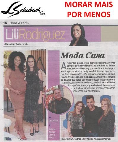 MORAR MAIS POR MENOS na coluna LILI RODRIGUEZ, do jornal O DIA, em 11 de agosto de 2017