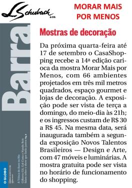 MORAR MAIS POR MENOS no caderno BARRA, do jornal O Globo, em 6 de agosto de 2017