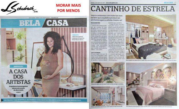 MORAR MAIS POR MENOS no caderno BELA CASA, do jornal Extra, em 12 de agosto de 2017