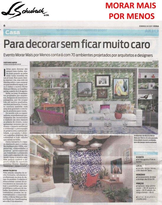 MORAR MAIS POR MENOS no caderno CASA, do jornal O DIA, em 16 de julho de 2017