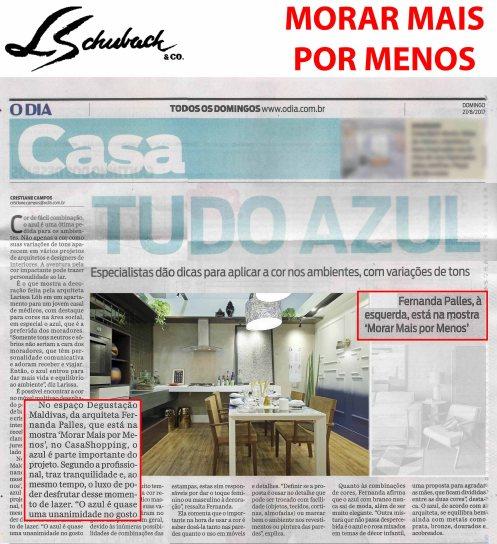 MORAR MAIS POR MENOS no caderno CASA, do jornal O DIA, em 27 de agosto de 2017