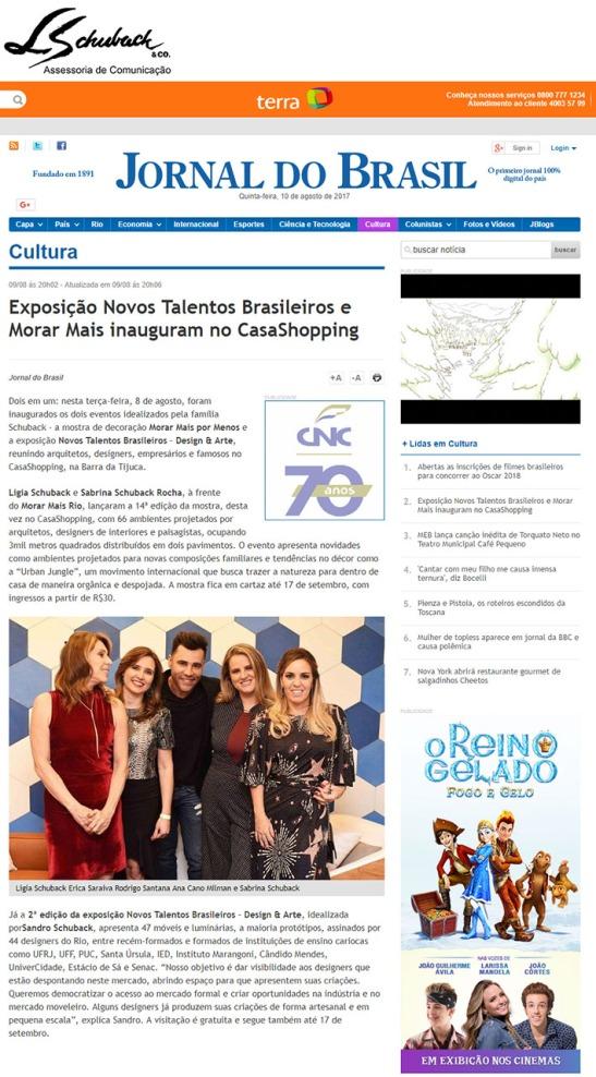 NOVOS TALENTOS BRASILEIROS no site do Jornal do Brasil em 9 de agosto de 2017