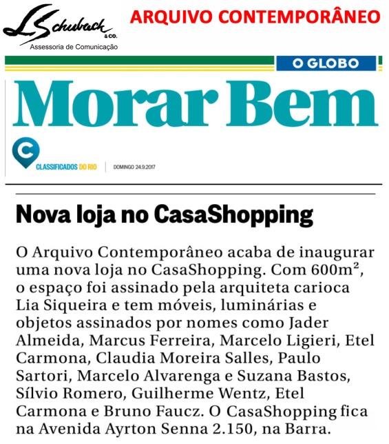 ARQUIVO CONTEMPORÂNEO no caderno Morar Bem do Jornal O Globo em 24 de setembro de 2017