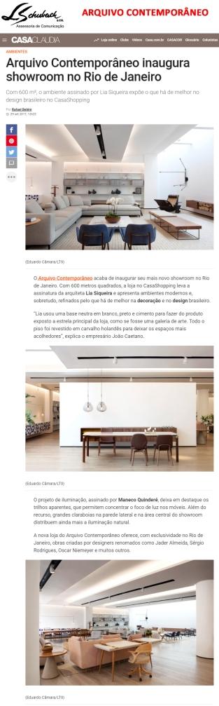 ARQUIVO CONTEMPORÂNEO no site da Casa Claudia em 29 de setembro de 2017