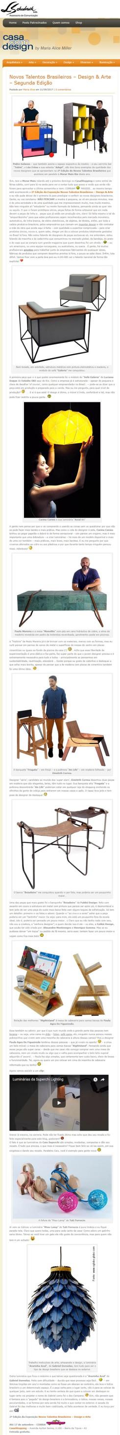 Exposição NOVOS TALENTOS BRASILEIROS no blog Casa com Design em 11 de setembro de 2017