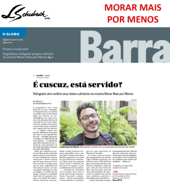 MORAR MAIS POR MENOS no caderno BARRA, do jornal O Globo, em 10 de setembro de 2017