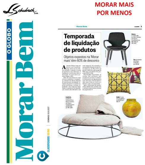 MORAR MAIS POR MENOS no caderno Morar Bem, do Jornal O Globo, em 10 de setembro de 2017