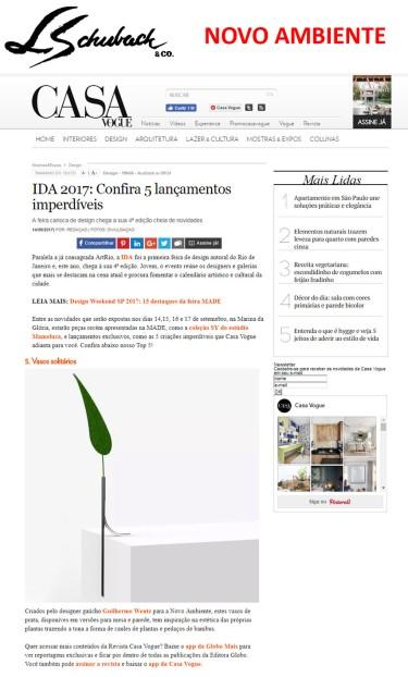 NOVO AMBIENTE no site CASA VOGUE em 14 de setembro de 2017