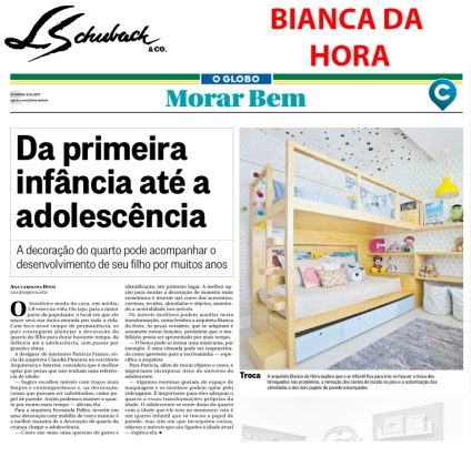 BIANCA DA HORA no caderno MORAR BEM, do jornal O GLOBO, em 08 de outubro de 2017