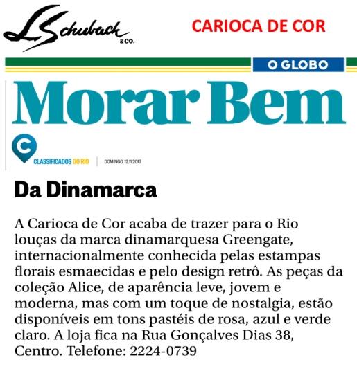 CARIOCA DE COR no caderno MORAR BEM, do jornal O GLOBO, em 12 de novembro de 2017