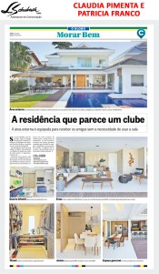 CLAUDIA PIMENTA e PATRICIA FRANCO no caderno MORAR BEM do jornal O GLOBO de 29 de outubro de 2017