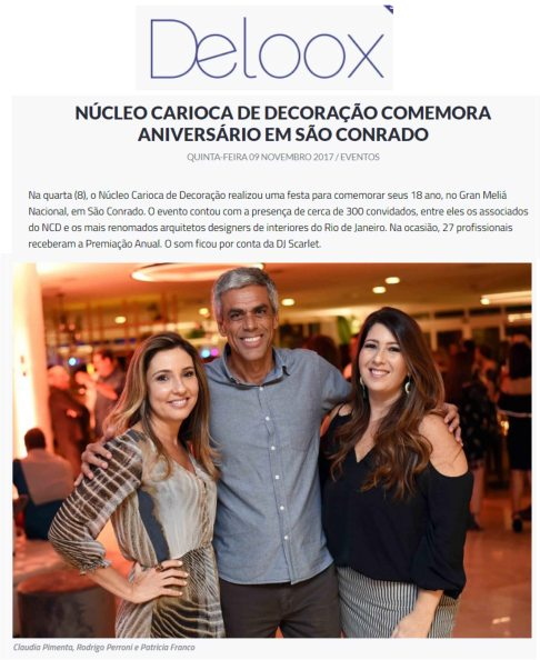 CLAUDIA PIMENTA e PATRICIA FRANCO no portal DELOOX postado em 9 de novembro de 2017