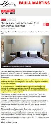 Depoimento da arquiteta PAULA MARTINS no site A Revista da Mulher em 18 de novembro de 2017