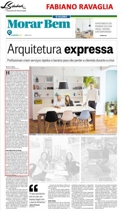FABIANO RAVAGLIA no caderno Morar Bem do jornal O Globo em 5 de novembro de 2017