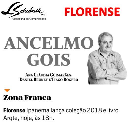 FLORENSE no Ancelmo Gois em 8 de novembro de 2017