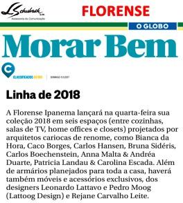 FLORENSE no caderno Morar Bem do jornal O Globo em 5 de novembro de 2017