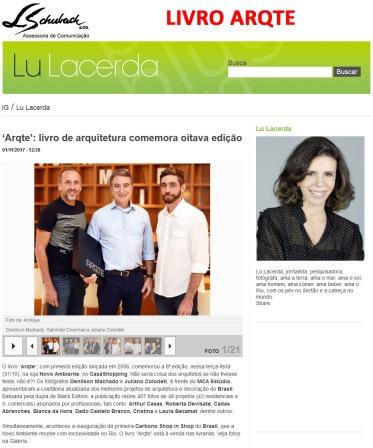 Livro ARQTE no site da Lu Lacerda em 1 de novembro de 2017