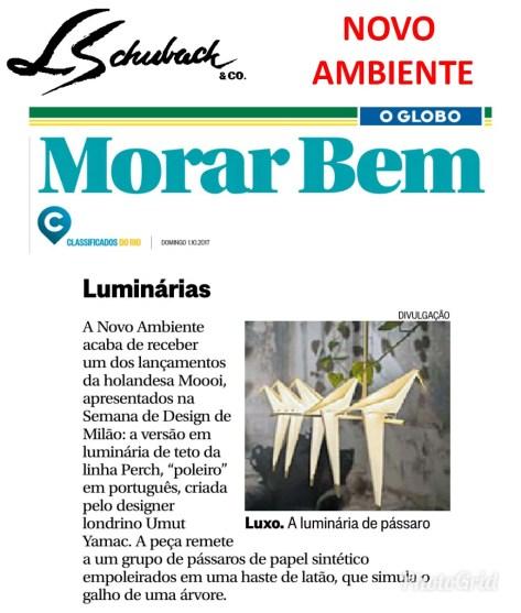 NOVO AMBIENTE no caderno MORAR BEM, do jornal O GLOBO, em 01 de outubro de 2017