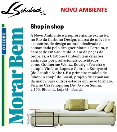 NOVO AMBIENTE no caderno MORAR BEM, do Jornal O Globo, em 19 de novembro de 2017