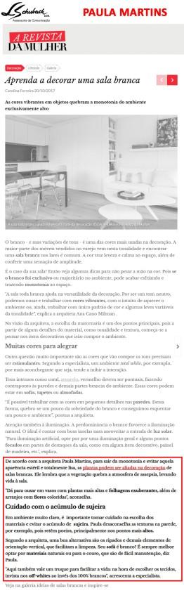 PAULA MARTINS no site A Revista da Mulher em 20 de outubro de 2017