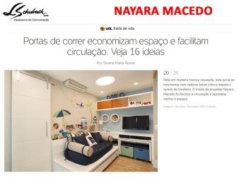 Projeto da arquiteta NAYARA MACEDO no Uol em 30 de novembro de 2017