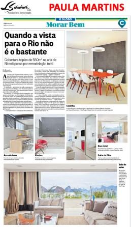 Projeto da arquiteta PAULA MARTINS no caderno Morar Bem do jornal O Globo em 26 de novembro de 2017