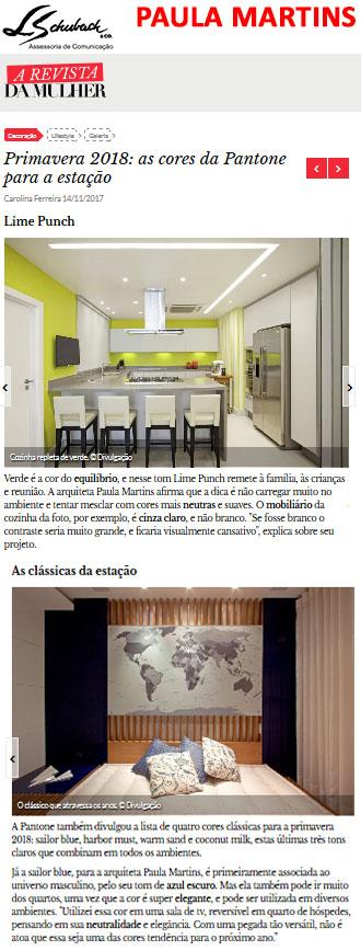 Projetos da arquiteta PAULA MARTINS no site A Revista da Mulher em 14 de novembro de 2017