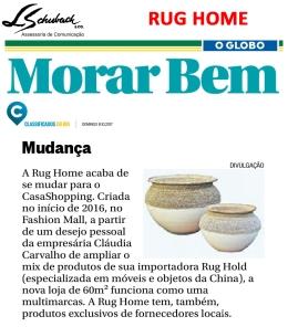 RUG HOME no caderno Morar Bem do jornal O Globo em 8 de outubro de 2017