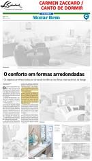 CARMEN ZACCARO e CANTO DE DORMIR no caderno Morar Bem do jornal O Globo em 3 de dezembro de 2017