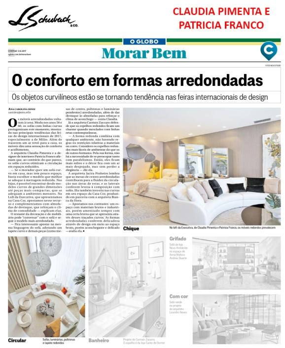 CLAUDIA PIMENTA E PATRICIA FRANCO no caderno MORAR BEM em 3 de dezembro de 2017