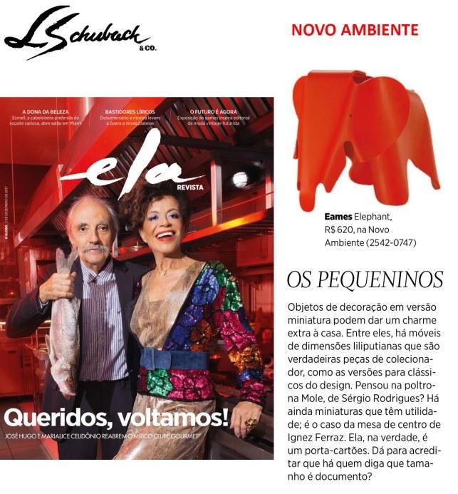 NOVO AMBIENTE na ELA REVISTA, do jornal O GLOBO, em 3 de dezembro de 2017