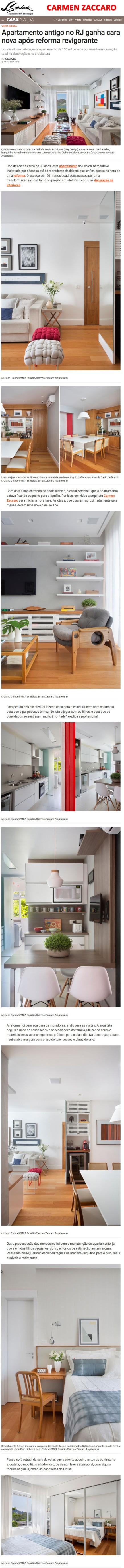 Projeto da arquiteta CARMEN ZACCARO no site da Casa Claudia em 11 de dezembro de 2017