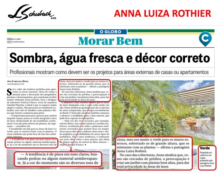 ANNA LUIZA ROTHIER no caderno MORAR BEM, do JORNAL O GLOBO, de 21 de janeiro de 2018
