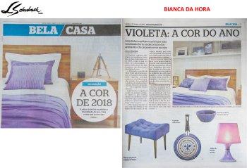 BIANCA DA HORA no caderno BELA CASA, do JORNAL EXTRA em 6 de janeiro de 2018